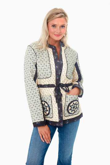 multi ditsy mix long sleeve quilted jacket