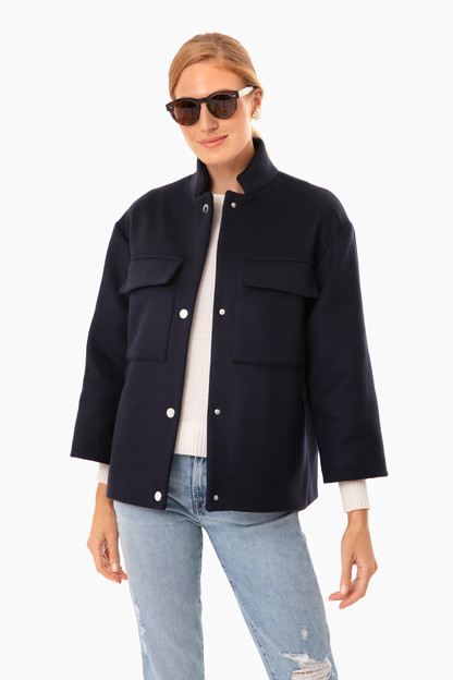 navy blouson indiana jacket