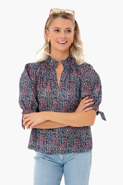 midnight navy combo longsleeve lilou blouse