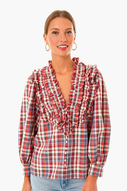 Farmhouse Plaid Tuxedo Button Top