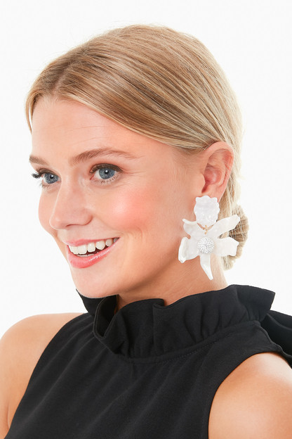mother of pearl crystal lily earrings