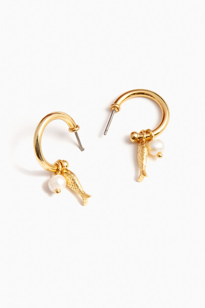 pesce pearl hoop earrings