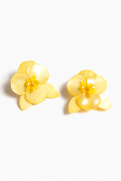 Yellow Peony Earrings