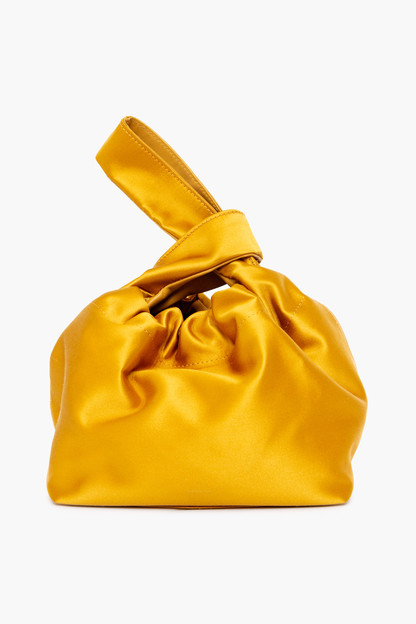 mustard satin santa monica bucket bag