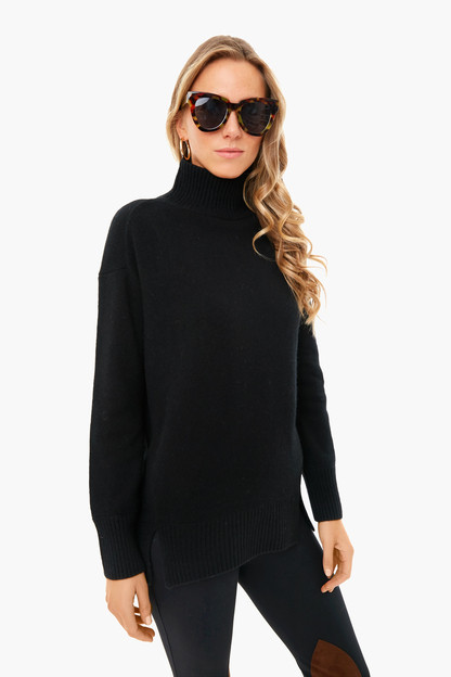 black cashmere double slit turtleneck