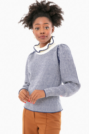 blue and white ruffle neck sweater