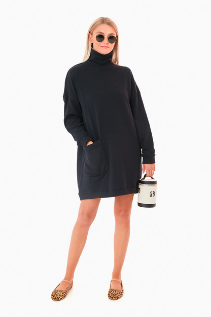 black lightweight terry turtleneck dress