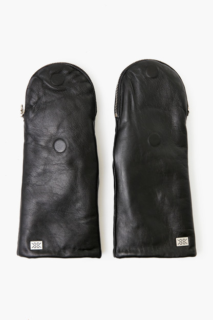black and moss betrice leather mittens