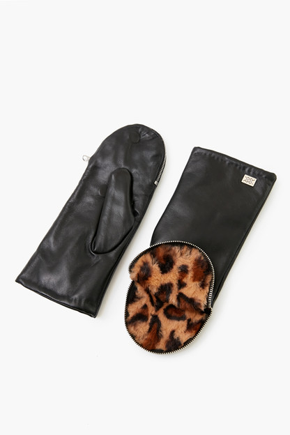 black and leopard betrice leather mittens