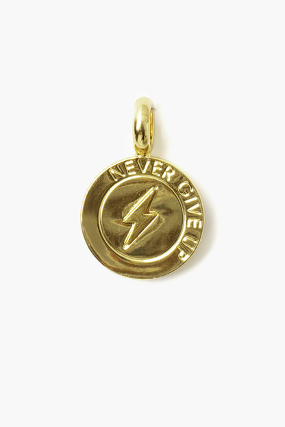 never give up coin charm