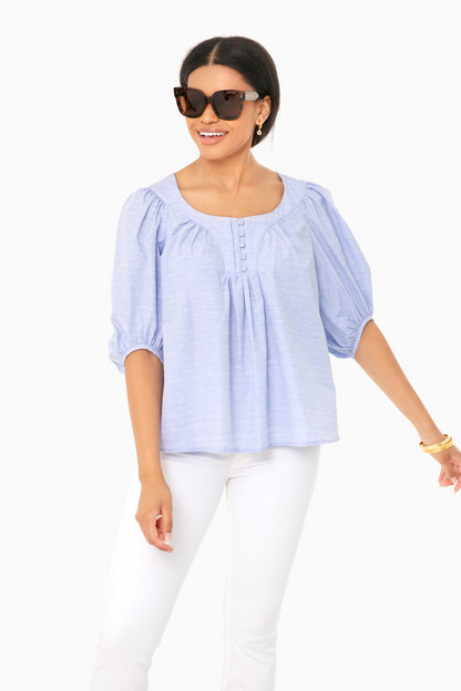 chambray swiss dot bardot blouse