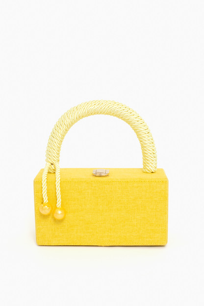 yellow top handle clutch