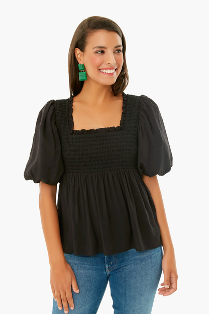 black smocked sal top