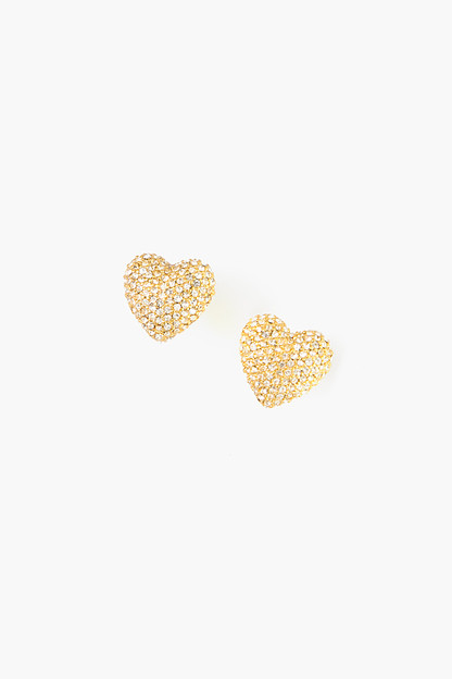 classic pave heart earrings