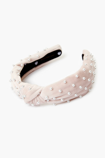 blush velvet pearl slim knotted headband