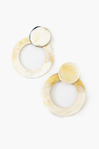 double circle horn earrings