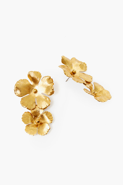 gold collette flower drop earrings