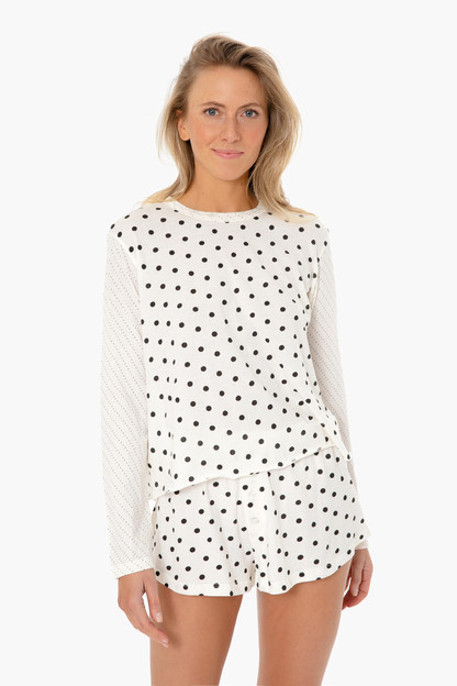 washed white mixed dot longsleeve sleep tee