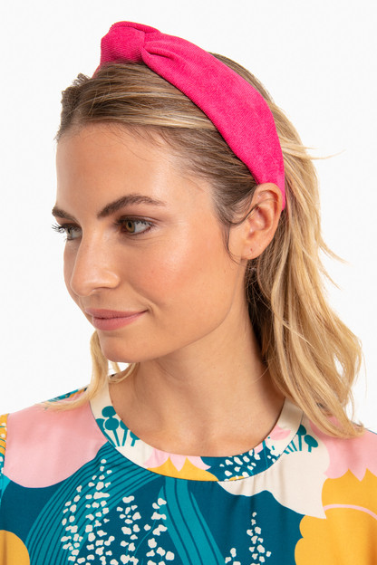 princess pink ribbed cotton knotted headband