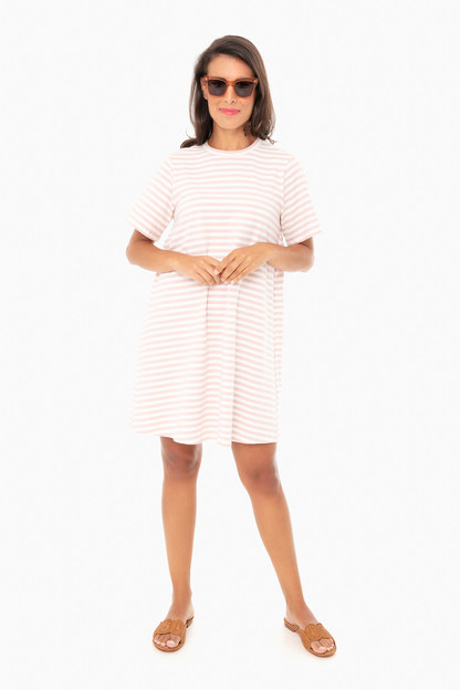 pink stripe zoe dress