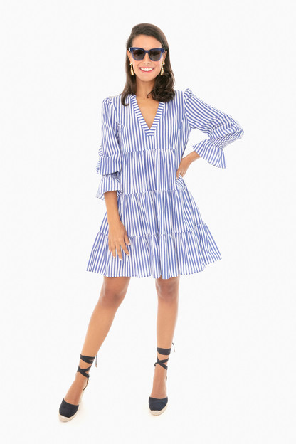 blue stripe kenzo tiered mini dress