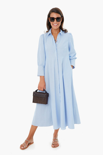 blue pinstripe lola maxi dress