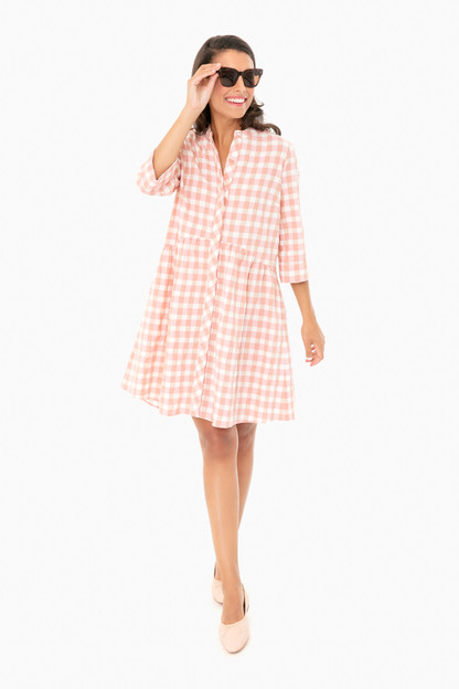 pink gingham royal shirt dress