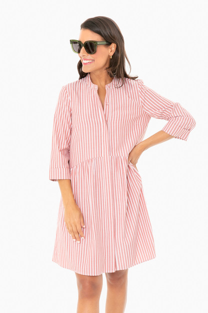 washed red striped royal shirt dress