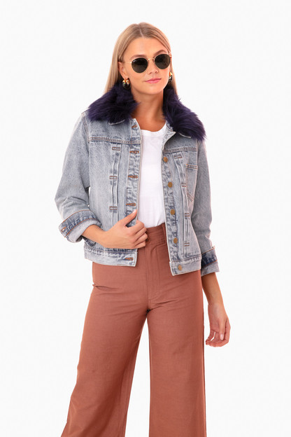 denim jacket with removable navy fur collar