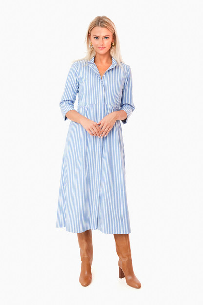 Chambray Stripe Midi Royal Shirt Dress