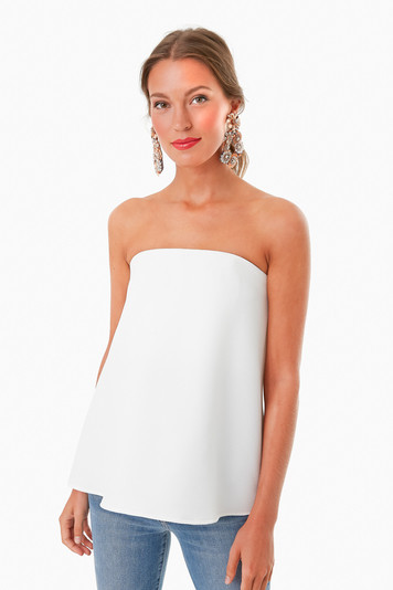 strapless ivory crepe marin top