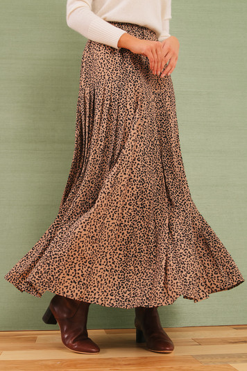 leopard pleat viola skirt