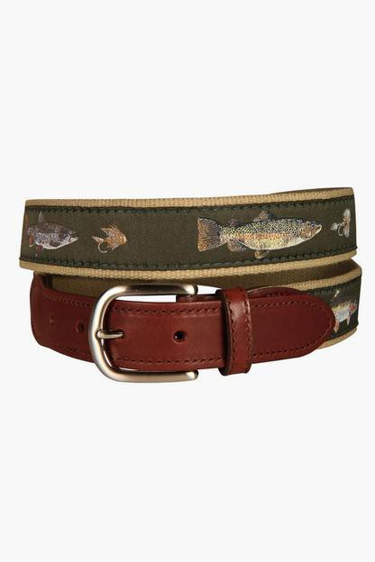 freshwater fish & flies leather tab belt