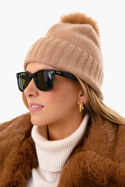 nude cashmere hat with fur pom