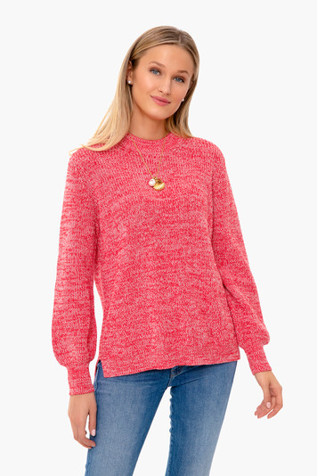 red cotton libby sweater