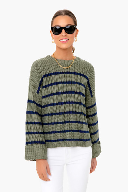 sage stripe cotton channing sweater
