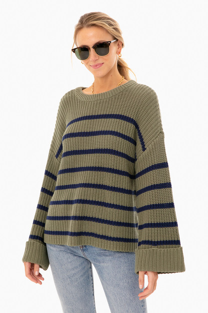 sage stripe channing sweater