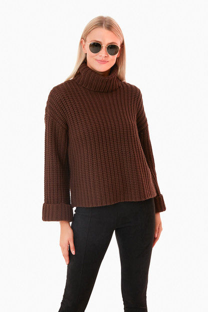 chocolate wide sleeve turtleneck
