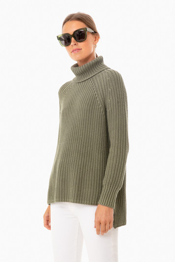 sage shaker turtleneck sweater