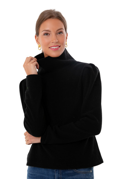 black palmer puff sleeve turtleneck
