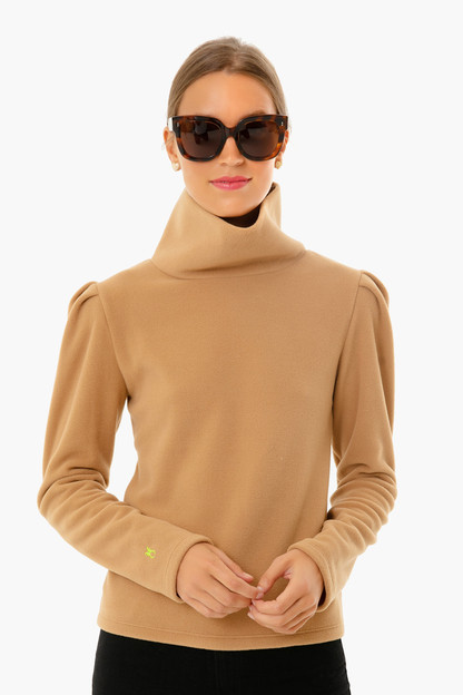 camel palmer puff sleeve turtleneck