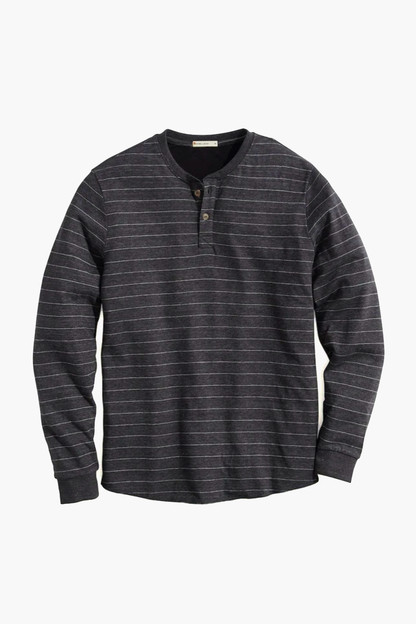faded black striped dk henley