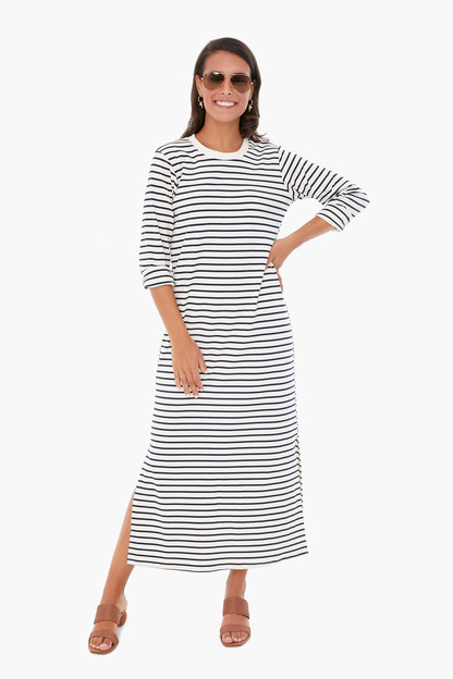 navy stripe gio maxi dress