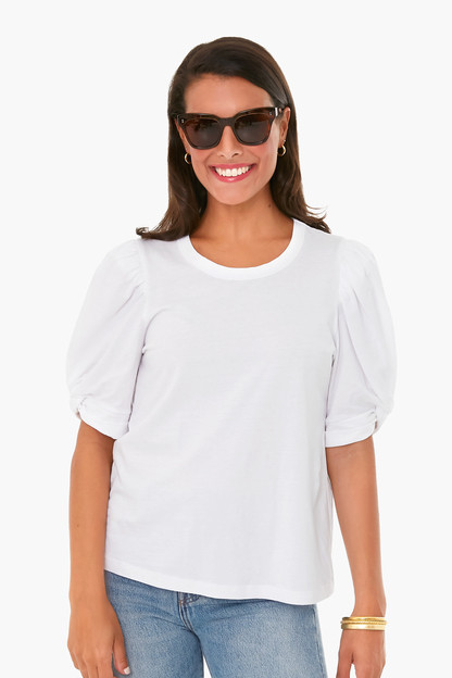 White Vesty Puff Sleeve Crewneck Take up to 30% off with code BIGSALE.