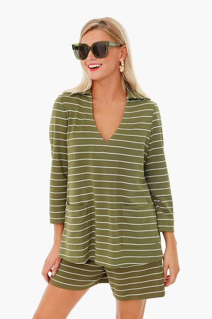 Olive Stripe Retro Collar JoJo Top