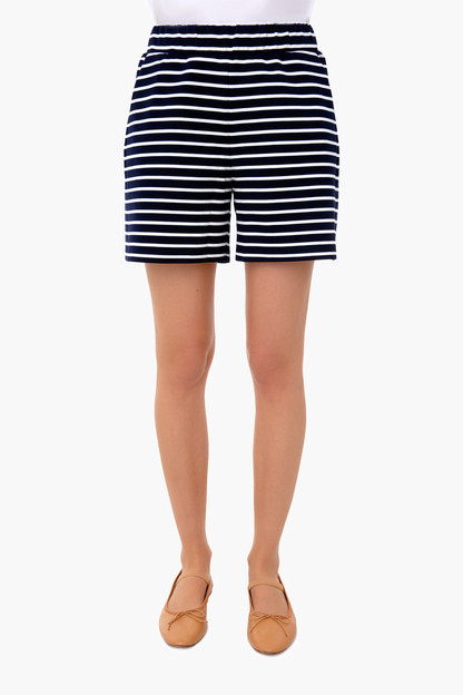 navy stripe jojo shorts
