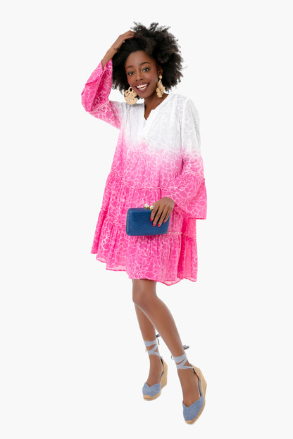 fuchsia ombre shadow flower flare sleeve dress