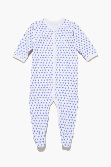 blue infant hearts pajamas