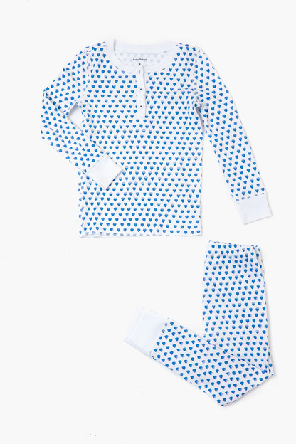 blue kids hearts pajamas