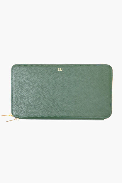 green pebble leather travel wallet